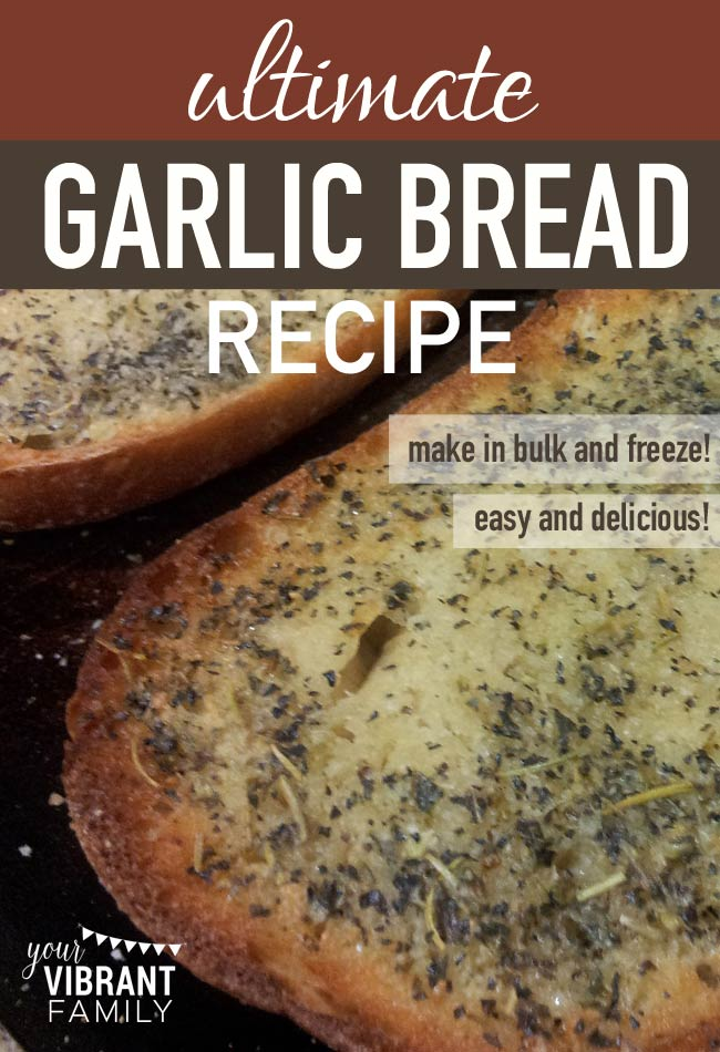 There's just nothing like great garlic bread! When my kiddos detect the delicious odor of toasted butter melting into savory garlic, basil and oregano over soft sourdough bread, they come running from every corner of the house! You've got to see this easy homemade garlic bread recipe that can be made in bulk (saving time and money)! Your family will thank you for it!