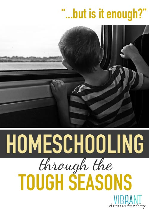 "How do you answer the question of ""am I doing enough homeschool""--especially during the tough seasons? Vibrant Homeschooling"