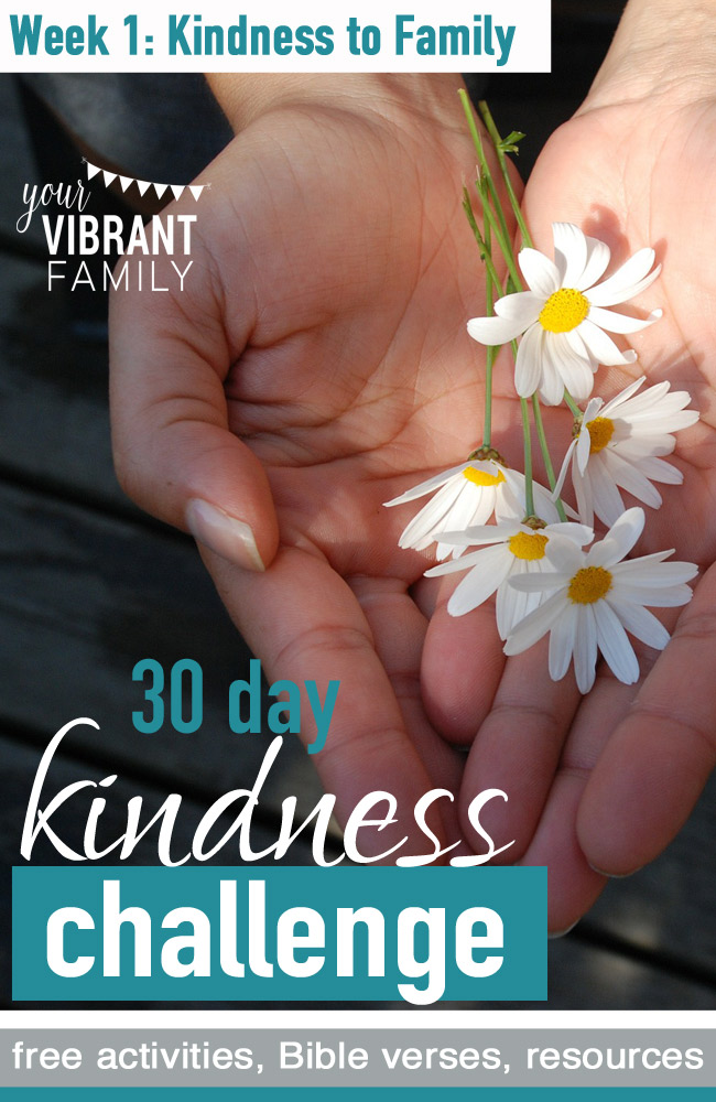 We all love random acts of kindness, right? What a blessing when someone does a kind deed for us… and when we're able to put our love in action by sharing a kindness with someone else! Today is the first post in our 30 day acts of kindness challenge! Who's excited and ready to do some good deeds with their family? Below is the Week 1 challenge! Remember, adjust the activities and discussion ideas to what works for your family. Do some of it, or all of it!