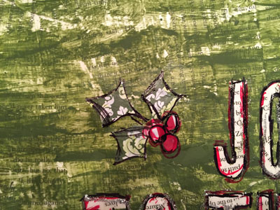 Love this way to create unique wall art with the kids (that you'll actually want to hang). These are Christmas-themed and super easy--bonus! Great Christmas craft and art project to do with my kids. Christmas Mixed Media Canvas from VibrantHomeschooling.com