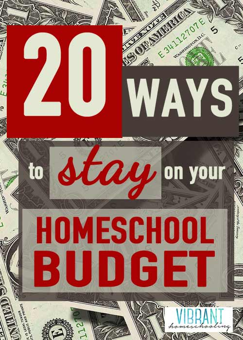 20 Ways to Stay on Your Homeschool Budget--so many great tips and tricks here. Budgeting is key!