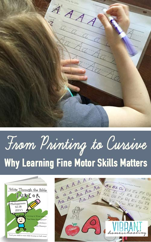 Fine motor skills: why are they so important? How I'm using Write Through the Bible Jr. to use fine motor skills to transition my daughter to cursive writing next year. Vibrant Homeschooling