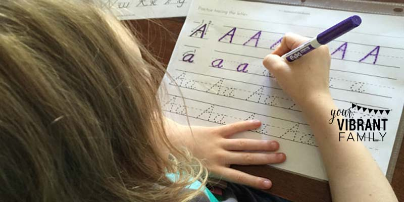 HOMESCHOOL MOMS: Is it OK to start teaching cursive if a child hasn't really mastered regular printing? That was my dilemma last year with my 7-year-old daughter. I was torn… she really, REALLY wanted to learn, but was it OK to teach? Here our story (and the solution we found to this problem!) If you're in the same situation with your child, you'll appreciate this!