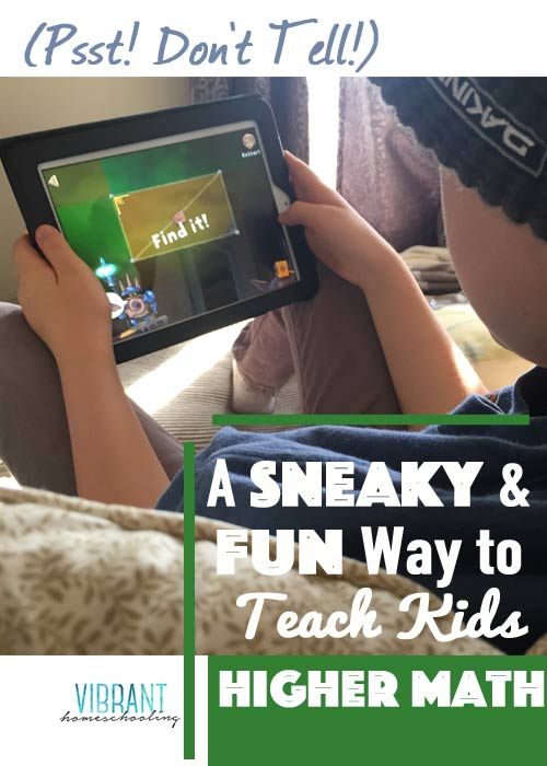 You've got to check out this sneaky way to teach higher math to your kids! They'll just think they're having fun! Vibrant Homeschooling