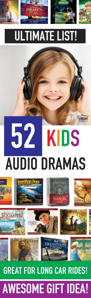 "Our family loves Christian audio stories for kids! Other moms often ask, ""Which are the best audio dramas for kids?"" and that's why I wrote this post. Here's a list of all of those awesome audio dramas for kids in one place. Audio dramas for kids are wonderful for teaching character traits like perseverance or commitment. Kids audio dramas are perfect for long car rides or just driving around town. Seriously, they're my secret weapon for long road trips!"