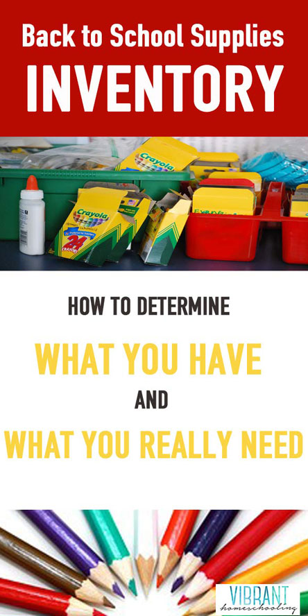 Time to take inventory: What curriculum, books and school supplies do you really need for back to school? Discover how to determine what supplies you have, what you can re-use, and what you really need.