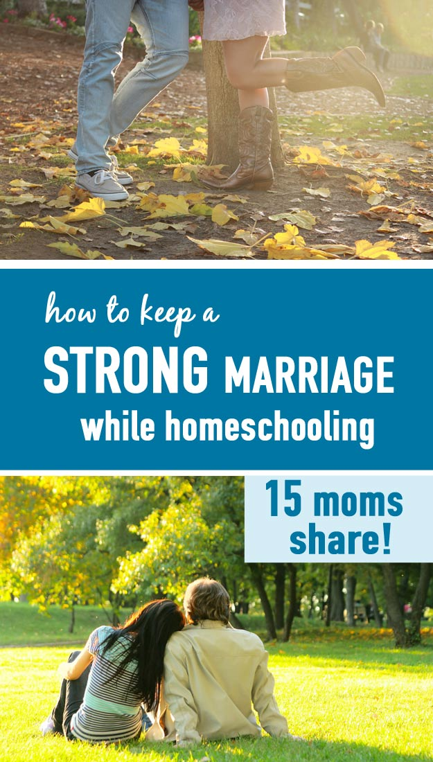 What are the secrets to a strong marriage, even in the hectic homeschooling lifestyle? 15 homeschool bloggers share how their marriages are thriving through the homeschool years. Great wisdom and resources here to encourage your marriage.