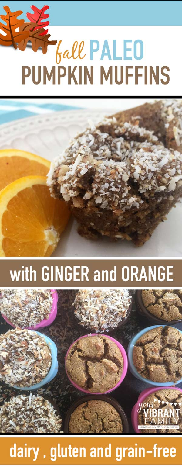 Just wait until you smell these cooking in your kitchen! Your family will LOVE these amazing fall Paleo Pumpkin Muffins! Made with ginger, orange, cinnamon and coconut, eating these muffins is pure heaven for your tastebuds. And because they're dairy, gluten and grain-free, they're healthy for your body as well. What a great way to say hello to fall!