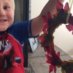 Fall Preschool Craft: Leaf Wreath that Teaches Shapes