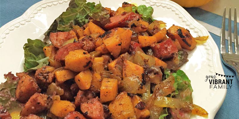 Fall Sausage Skillet Supper with Sweet Potatoes and Apple