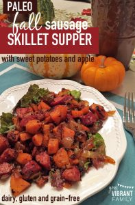 Have you discovered the beauty of skillet suppers? Chop up a few vegetables and some protein, cook them together in a skillet and presto--you have an easy, fast and fresh weeknight dinner. This Fall Sausage Skillet Supper recipe combines the ease of a skillet supper with the intoxicating flavors of fall that make us all swoon this time of year. One bite of the sizzling sausage, perfectly fried sweet potatoes and onions (all seasoned with the heady aroma of cinnamon, ginger, garlic and chili powder) in this fall skillet supper will convince you that, yes, this amazing dish needs to become a staple in your family's fall dinner menu. Now.