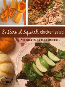 When fall rolls around and butternut squash is in season again, my heart goes pitter-pat because I know that I'm going to get to make this recipe: Warm Butternut Squash Chicken Salad. It's truly one of my favorite dinners to make during October and November. It's also been a wonderful accompaniment to our Thanksgiving dinner! You've got to try this healthy and delicious salad that captures all the flavors of the fall season!