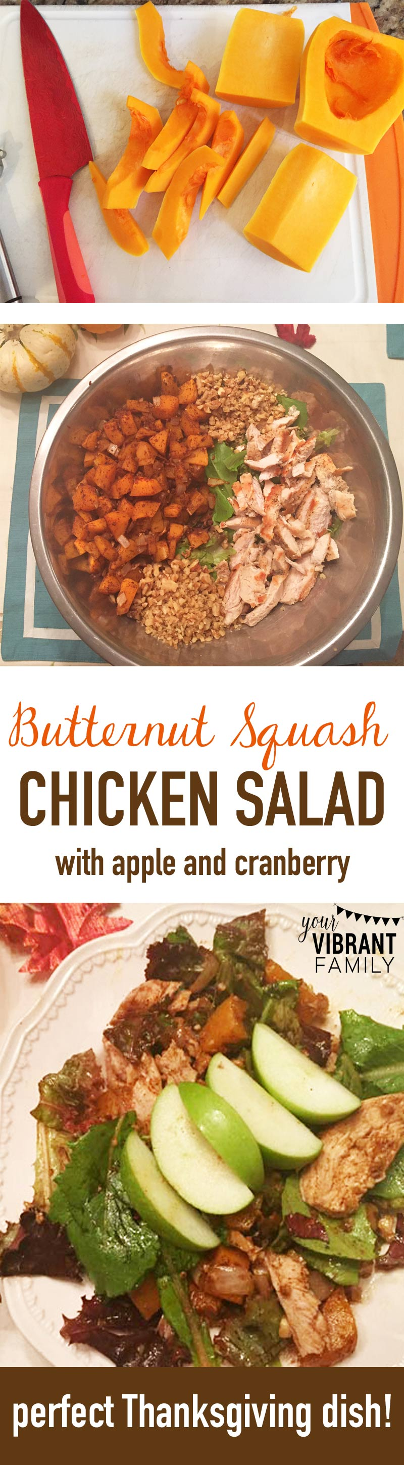 Looking for the perfect Thanksgiving side dish? Or an awesome salad dinner meal that captures the flavors of fall? You'll love this Butternut Squash Chicken Salad with apples and cranberry! It's what I bring every year to our family's holiday dinner!