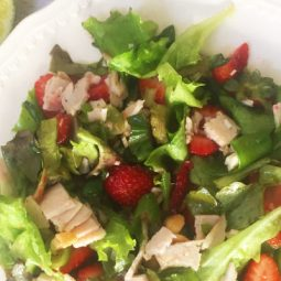 Here's the perfect summer salad recipe: Strawberry Chicken Salad with cashews, lime and basil! Such a perfect combination of savory and sweet... and of course that incredible strawberry flavor! The pictures alone in this post will make your mouth water! Your family will love it!