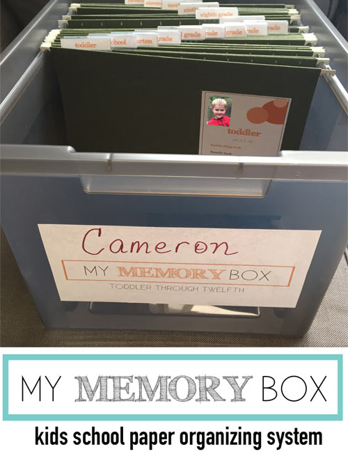 Organize kids school papers with the incredible My Memory Box organizing system! No more piles of your kids memorabilia! Your child's art and keepsakes are sorted by school year with file tabs and special info on the front of each school year tab. Get organized today with this amazing paper organizing system!