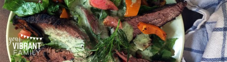 Looking for a healthy salad that's easy to make and is bursting with theamazingflavors of barbecue (and specifically the awesomeness of Tri Tip)? Oh man, have I got a salad for you (especially if you have meat lovers in your family)! You've got to try thistasty BBQ Tri Tip Salad with Lime Dill Dressing!
