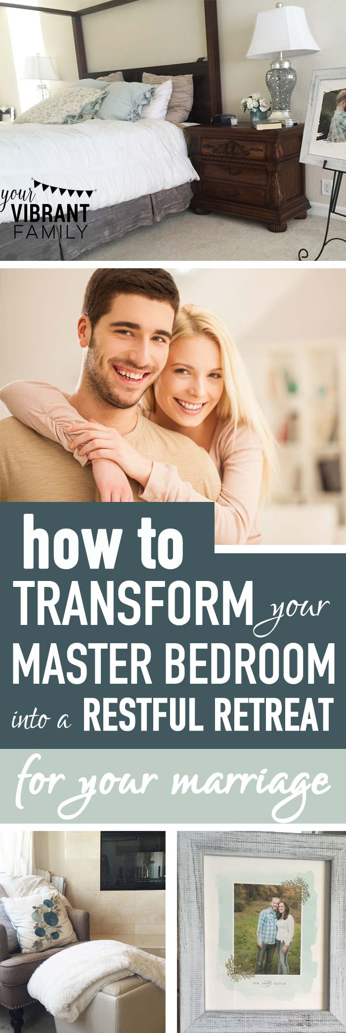 "Do you have a sanctuary in your home for you and your husband? A place to talk about the tough issues? Somewhere where you can close the door and be real with each other? Creating a restful master bedroom retreat isn't about spending thousands of dollars on creating a designer's showcase. Instead, it's about asking, ""what kind of atmosphere do you want to encourage in your marriage?"" Every single couple needs a place like this. Here's how to create a restful master bedroom retreat for your marriage!"