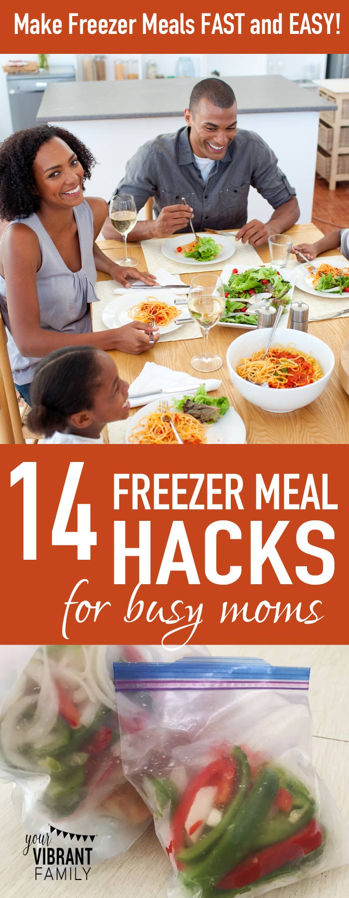 Freezer meals are a LIFESAVER for busy moms. Get 14 amazing tips from a freezer meal making expert on how to make them fast and easy! I learned so much here from her Freezer Meals 101 course, and you can too! For example, Hack #6 is so simple, but it totally blew my mind...