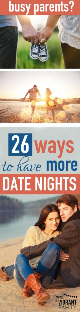 You know date nights can really strengthen your marriage. But how in the world do you make them happen? Discover the 6 most common reasons why couples don't plan more date nights, and learn 26 amazingly creative ways to solve them! This post will give you the tools and ideas you need to REALISTICALLY add date nights as a regular part of your marriage! If you've been stumped about how to make date nights really happen, you've GOT to read this post!