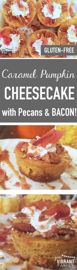 Caramel. BACON. Over pumpkin-flavored cheesecake. Sprinkled with pecans. Gluten free. Here's the perfect Thanksgiving dessert! What a great remake of pumpkin pie!