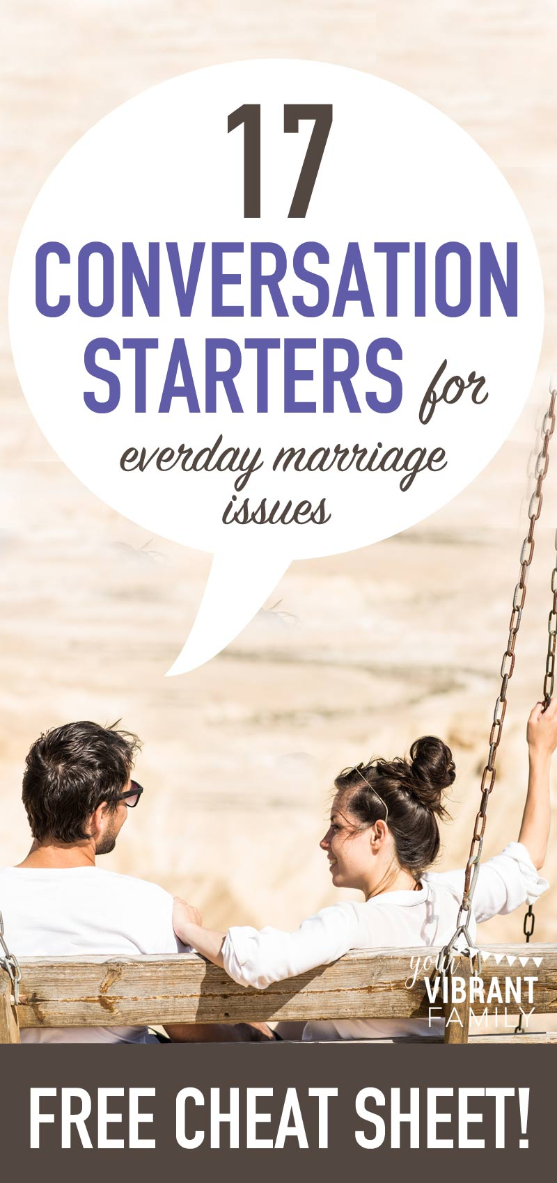 Sometimes things just don't feel right in my marriage… and I usually realize that there's some unresolved emotions we need to talk about. Ever feel that way too? Here are 17 conversation starters you can use to discuss those everyday marriage issues.