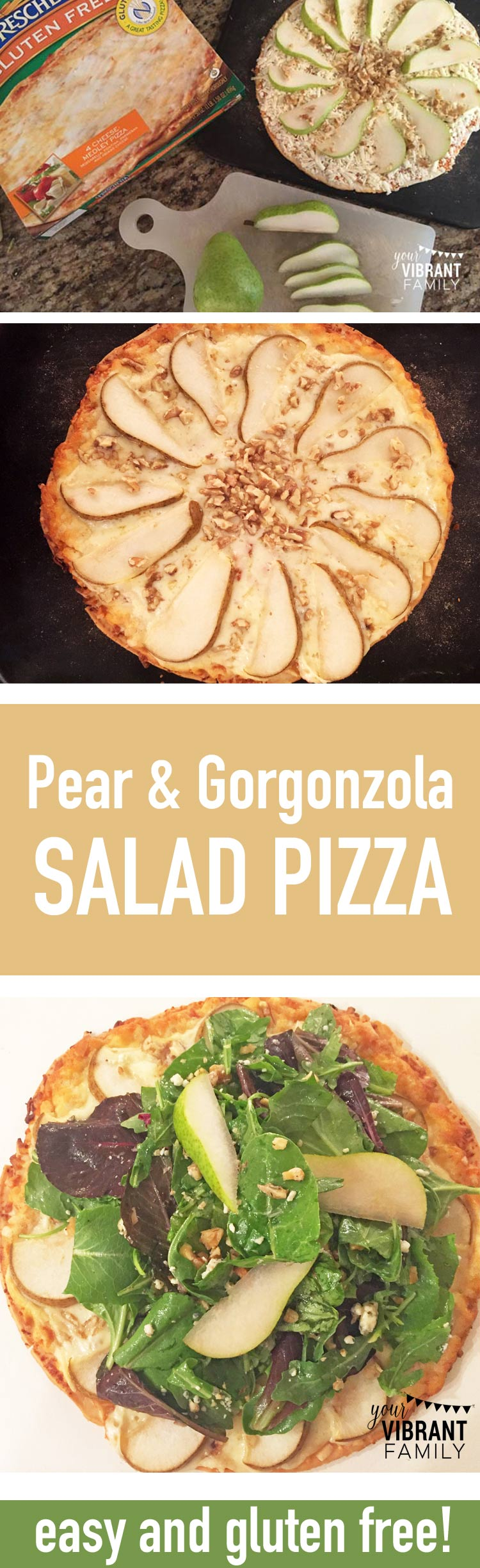 Looking for a different (and delicious) way to eat pizza? I can't wait to share this Pear and Gorgonzola Salad Pizza recipe with you! Yes, I said pizza and salad together! And I want to show you my trick to making it faster (and gluten free)! You'll love this easy weeknight dinner recipe!