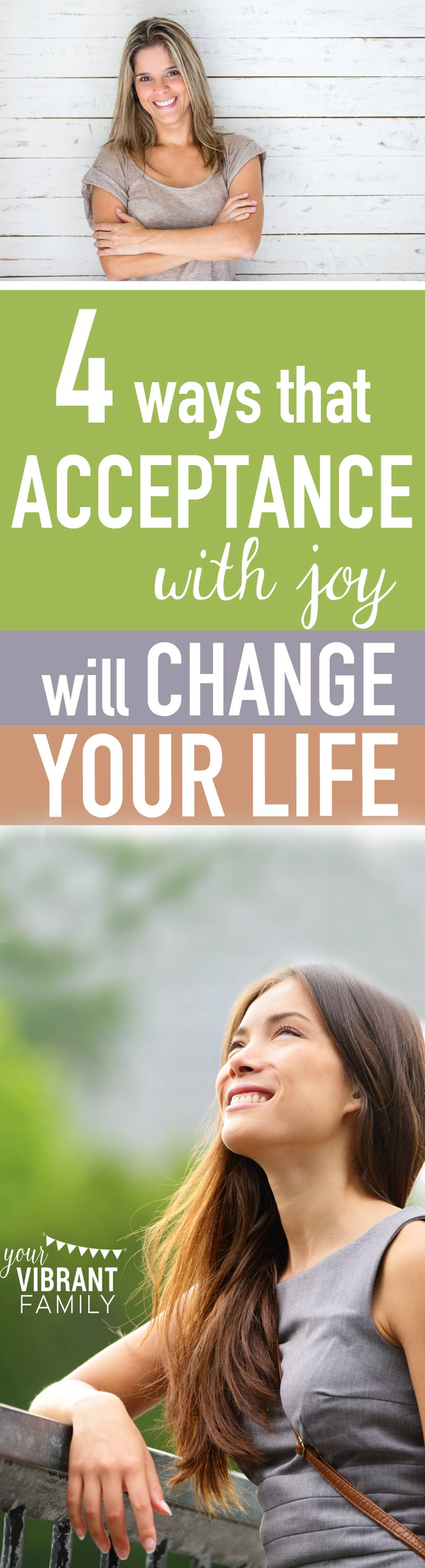 "It is SO EASY to be depressed and annoyed by our present circumstances with our kids or our husbands. But we don't have to live annoyed and unhappy. We have choices, and I want to show you how the simple phrase ""acceptance with joy"" can reframe even the hardest parts of your life TODAY."