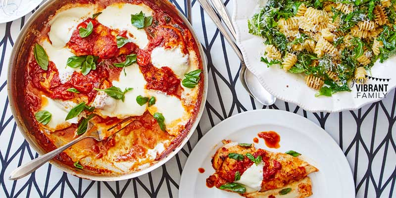 Looking for a great new chicken dinner recipe? You'll love this Baked Chicken Margherita Dinner: a wonderful spin on the classic Italian flavors of chicken, mozzarella, marinara sauce and fresh basil, all served over pasta with arugula. Wonderful new family recipe from Martha & Marley Spoon!